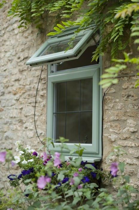green casement upvc window