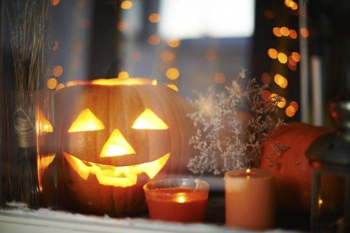 Halloween pumpkin in the window